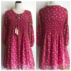 Entro NWT pink bird peasant style baby doll dress